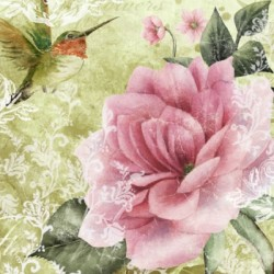 Papirni prtički Servieti Ptica + roža 4 kosi 33x33cm