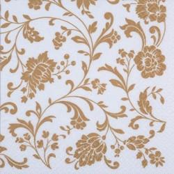 Papirni prtički Servieti Zlato Bel cvetlični vzorec 4 kosi 33x33