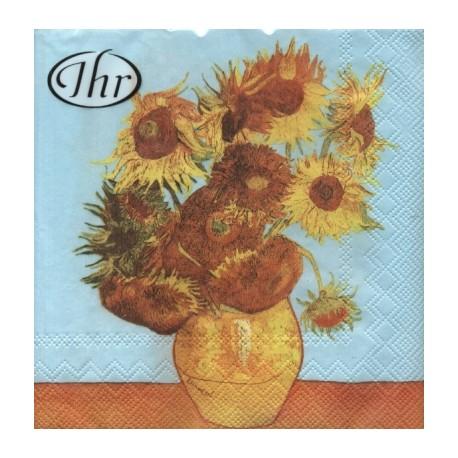 Papirni prtički Servieti VAn Gogh Sončnice 4 kosi 33x33cm
