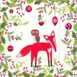 Papirni prtički Servieti Božič živali 4 kosi 33x33cm