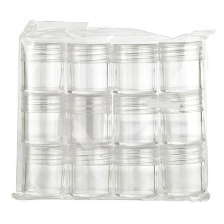 Komplet 12 akrilnih prozornih škatlic z navojem velikosti 25 x