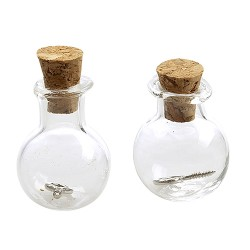 Mini steklenički z zamaški 17 x 21mm, 2 kosa
