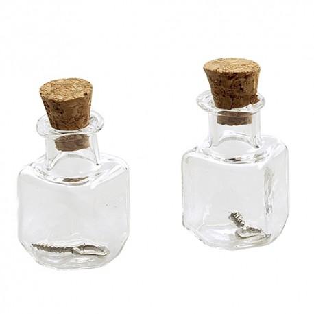 Mini steklenički z zamaški 13,8x13,8x24mm, 2 kos Kvadratna