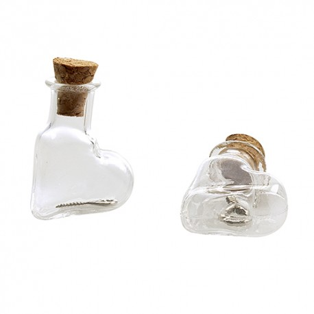 Mini steklenički z zamaški 19,4x9x25mm, 2kosa Srce