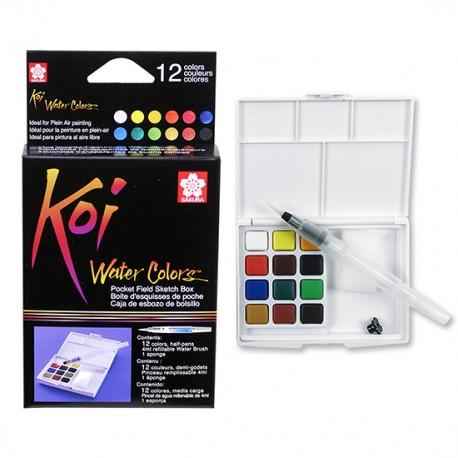 Sakura Koi akvarelne barve set 12 + vodni čopič