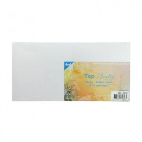 Voščilnice 220g. + kuverte 120g. 135x135mm, 50kos Bele