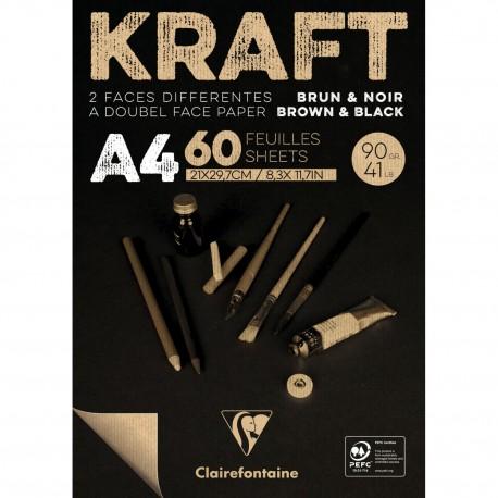 Kraft skicirka blok Rjava/Črna 100 listov 90g.