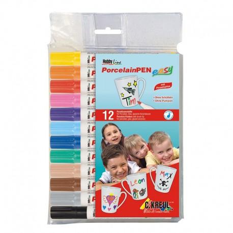 Flomastri za Porcelan za otroke Easy set 12