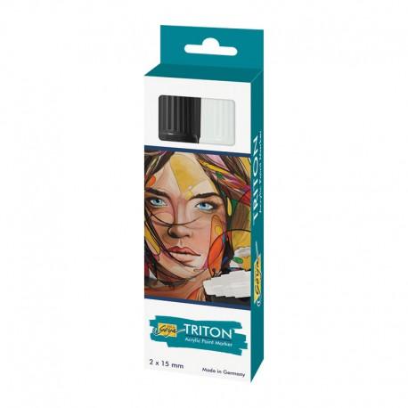 Triton akrilni marker 15mm set Črna, Bela