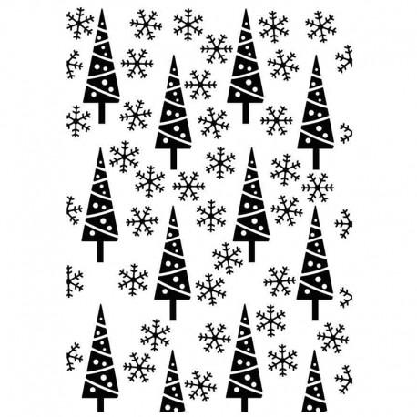 Embossing mapa 106 x 150mm Božična drevesca in snežinke