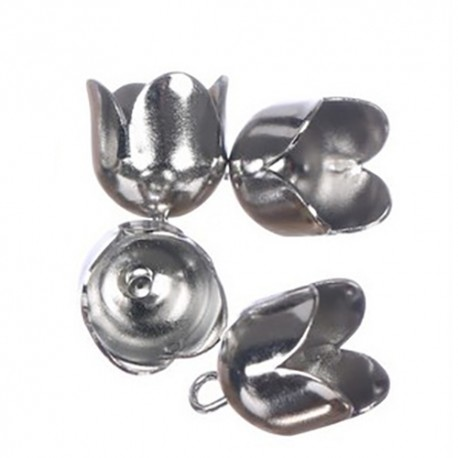 Zaključni zvončki 13mm, 4 kosi, Platinaste barve