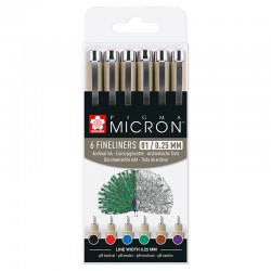 Pigma micron 05 mikrona / 0,45mm Osnovni set 6