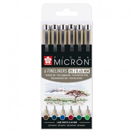 Pigma micron 05 mikrona / 0,45mm Zemeljske barve set 6