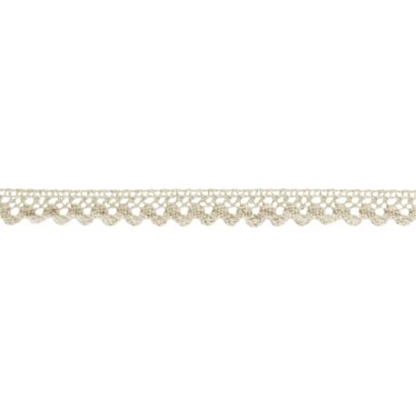 Bombažna lepljiva čipka iz tekstila 15mm x 2m, Vanilija