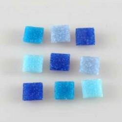 Steklen mozaik 10 x 10mm, Mešane modre 125g. ca 180 kosov
