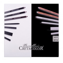 Cretacolor Black & White set 25, lesena škatla