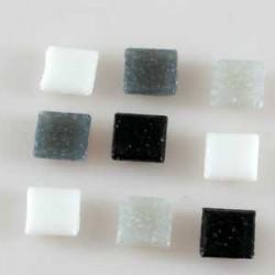 Steklen mozaik 20 x 20mm, belo črne, 44 kos