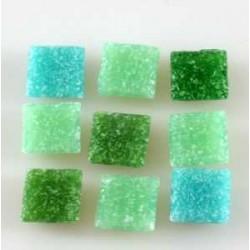 Steklen mozaik 20 x 20mm, mešane zelene 44 kos