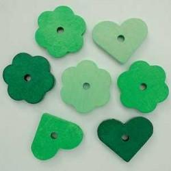 rože-srčki zeleni 28mm, 14kos