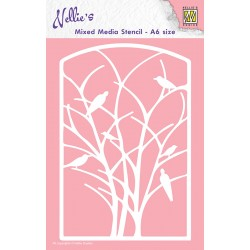 Šablona Mixed media A6 10 x 15cm, Ptice na Drevesu