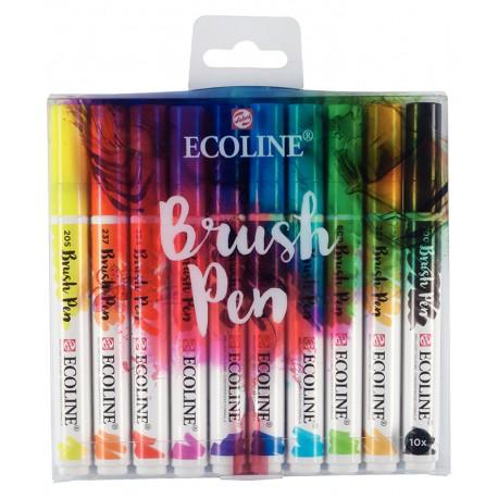 Ecoline Brushpen tekoči akvarel marker oblika čopiča, set 10