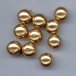 Steklene perle 8mm, konjak b., 50 kos