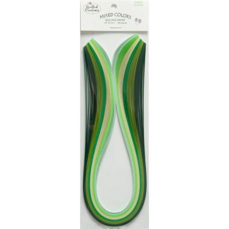 Quilling papir 3mm Zeleni toni 44cm 100 kosov