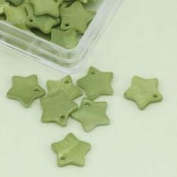 Biserna matica zvezda 13mm, zelena, 25kos