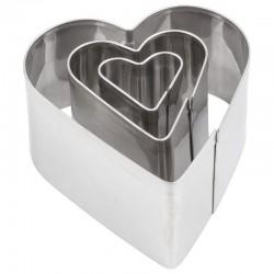 Kovinski modelčki Srca 2-4cm, 3 kosi