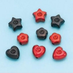 Satenske perle različne oblike 10g, rdečo-črne