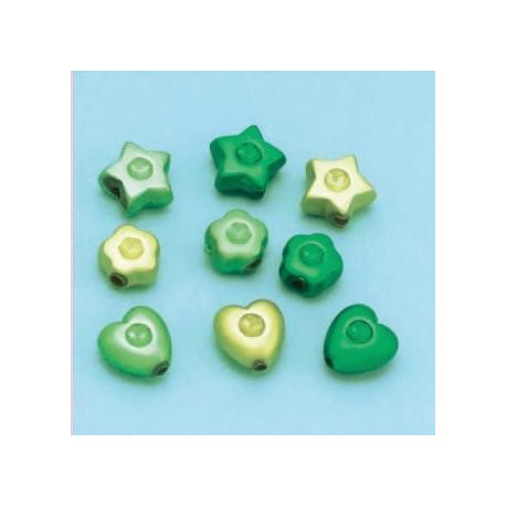 Satenske perle različne oblike 10g, zelene