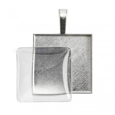 Obesek + steklo kvadrat 25 x 25mm, 1 kos