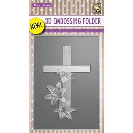 Nellies embossing mapa 3D 106 x150mm Križ z lilijami