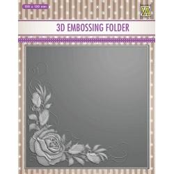 Nellies embossing mapa 3D 150 x150mm Vrtnice v kotu