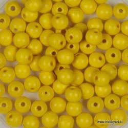 Lesene perle 4mm, Rumene, 165 kosov