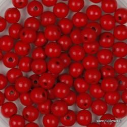 Lesene perle 4mm, Rdeče, 165 kosov