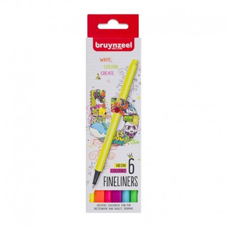 Bruynzeel Fineliner Neon set 6