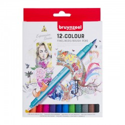 Bruynzeel Fineliner Brushpen set 12