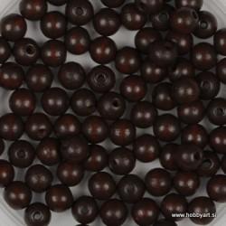 Lesene perle 4mm, Rjave, 165 kosov