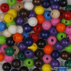 Lesene perle 4mm, Mešane, 165 kos