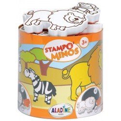 Štampiljke v lončku Minos Savana 10 kosov + črna blazinica