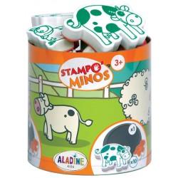 Štampiljke v lončku Minos Farma 10 kosov + črna blazinica