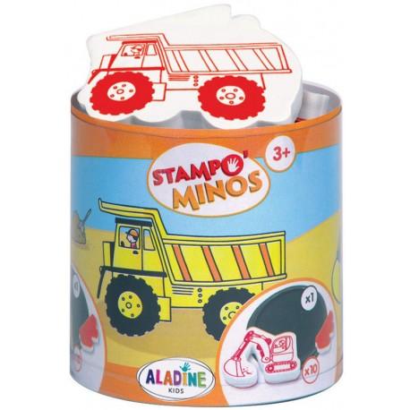 Štampiljke v lončku Minos Tovornjaki in bagerji 10 kosov + črna blazinica