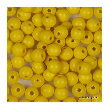 Lesene perle 6mm, Rumene, 125 kosov