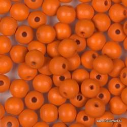 Lesene perle 6mm, Oranžne, 125 kosov