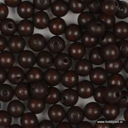 Lesene perle 6mm, Rjave, 125 kosov