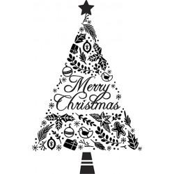 Lesena štampiljka iz gume, Božična jelka 65 x 45mm