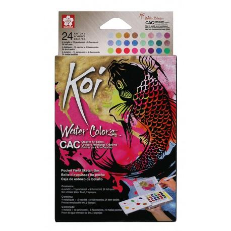 Koi akvarelne barve metalne in flourescentne 12+čopič