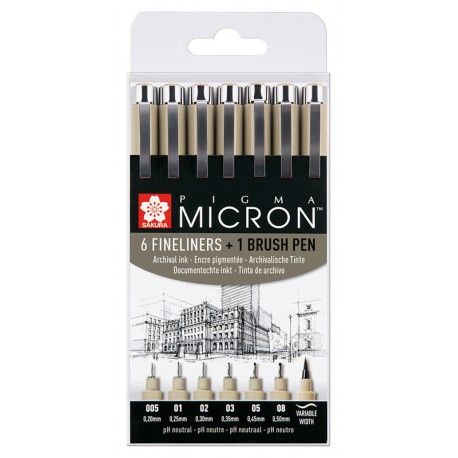 Pigma Micron Črna 6 + 1 Brush pen