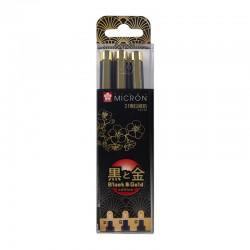 Pigma Micron Črno Zlata edicija set 3